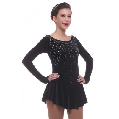 花样滑冰裙,黑色,水钻,长袖 - 黑色