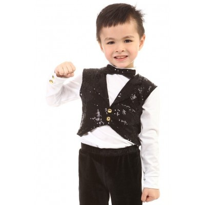 Figure skating top - body shirt - black - long sleeves - tuxedo - sequins - Black
