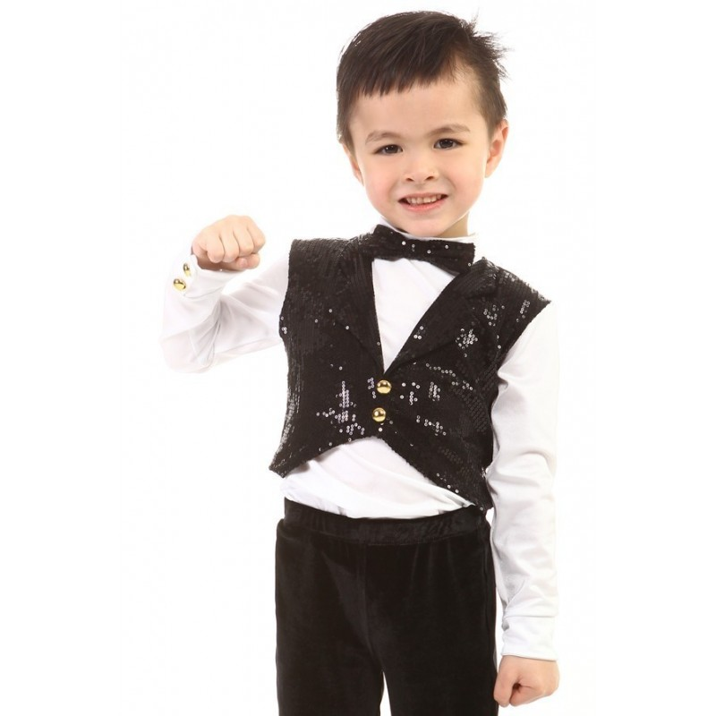 Figure skating top - body shirt - black - long sleeves - tuxedo - sequins