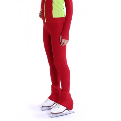 Heel cover skating pants with convenient colour contrast back zip pocket - Red