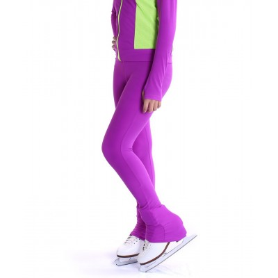 Heel cover skating pants with convenient colour contrast back zip pocket - Purple