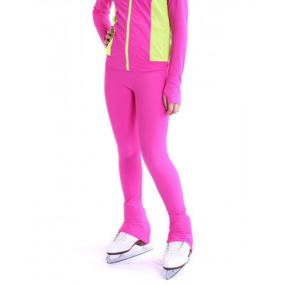 Heel cover skating pants with convenient colour contrast back zip pocket - Hot Pink