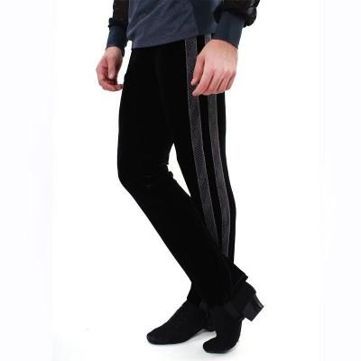 Figure skating pants - black - long - velvet 1 - Black
