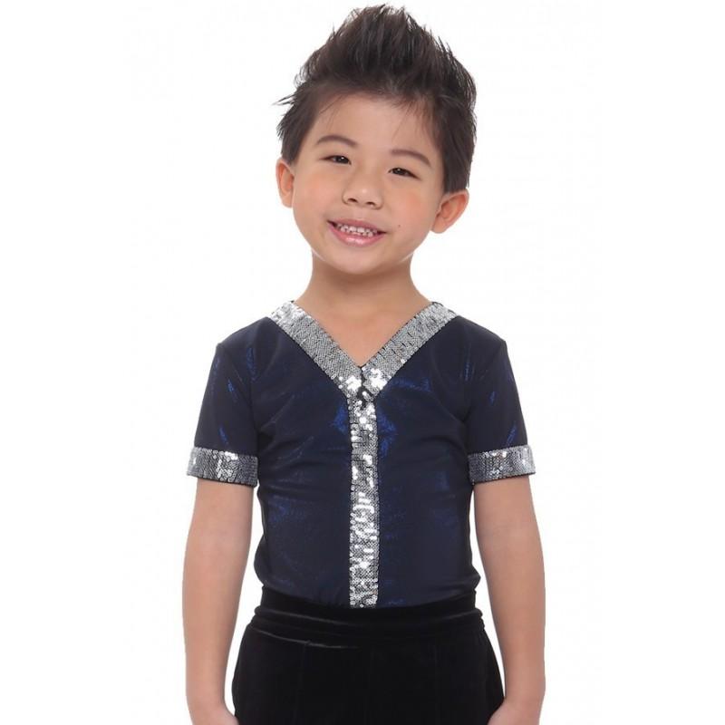 Figure skating top - body shirt - blue - short sleeves - sequins