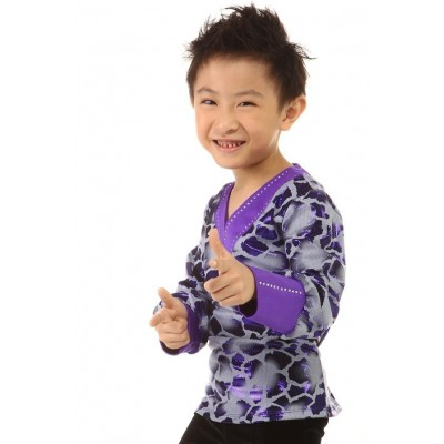 Figure skating top - purple - long sleeves - v-neck - rhinestones