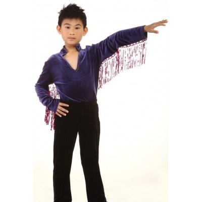Figure skating top - purple - long sleeves - v-neck - tassles - rhinestones - sequins - Dark Purple