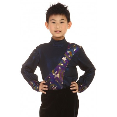 Figure skating top - body shirt - black - long sleeves - v-neck - high collar - Black
