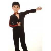 Figure skating top - black - long sleeves - v-neck - collar - rhinestones - sequins