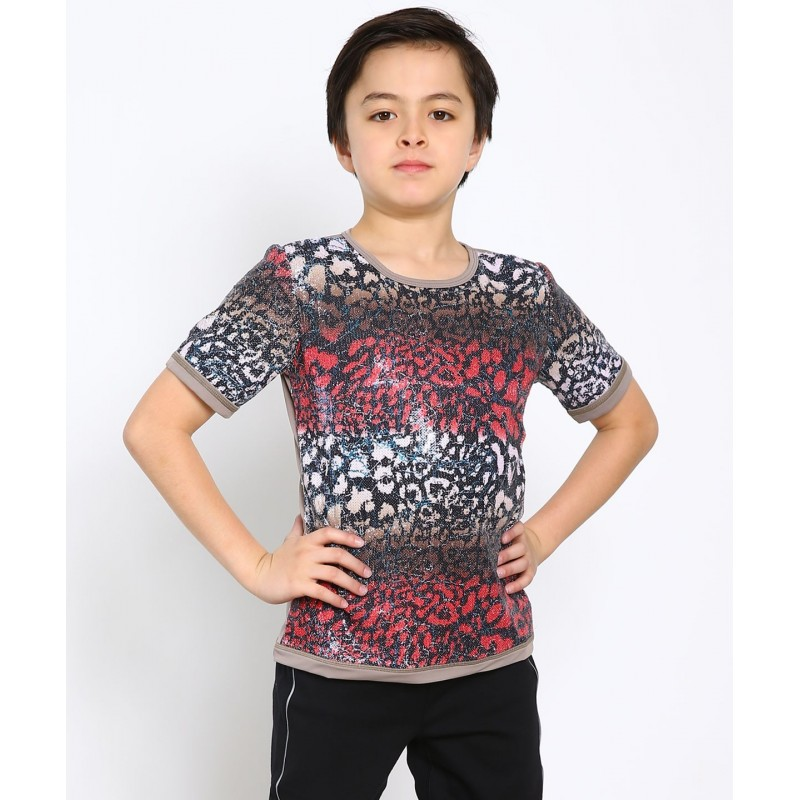 Leopard print round collar sequin figure skating short sleeve top