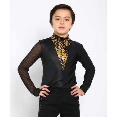 Mixed-sleeves dramatic figure skating body shirt with rhinestones and sequins - Black