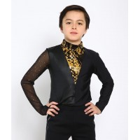 Mixed-sleeves dramatic figure skating body shirt with rhinestones and sequins