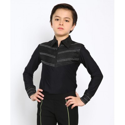 Rodeo-cut figure skating body shirt with collar and rhinestones - Black