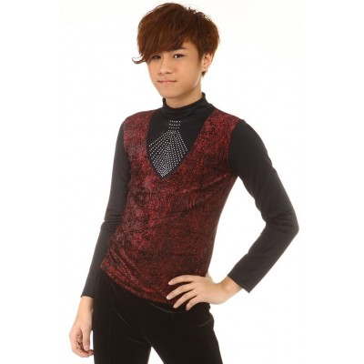 Figure skating top - black - red - long sleeves - high collar - rhinestones