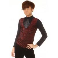 花样溜冰上衣,黑色,红色,长袖,高领,水钻