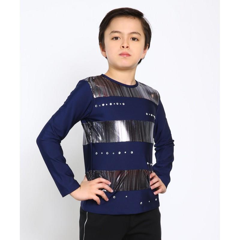 Space racer long sleeves figure skating top with rhinestones