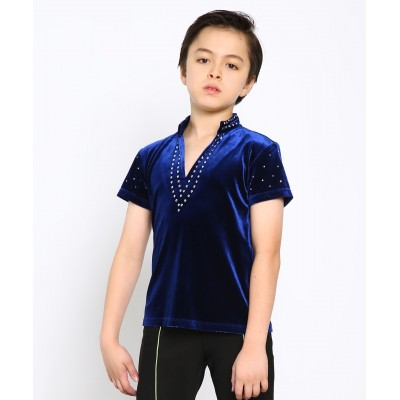 Classic deep v-neck short sleeves figure skating top with rhinestones - Blue