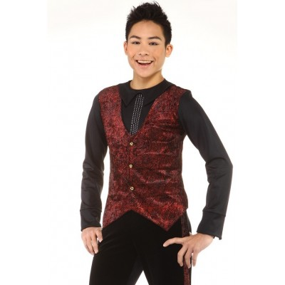 Figure skating top - black - red - long sleeves - rhinestones 1