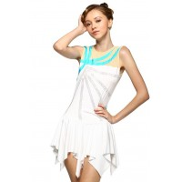 Figure skating dress - white - sleeveless - diamante 4