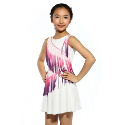 Figure skating dress - white - sleeveless - tassels