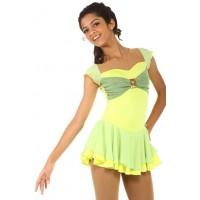 花样滑冰裙,黄色,金色亮片,绿色饰带,水钻