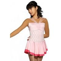 Figure skating dress - pink - long sleeves