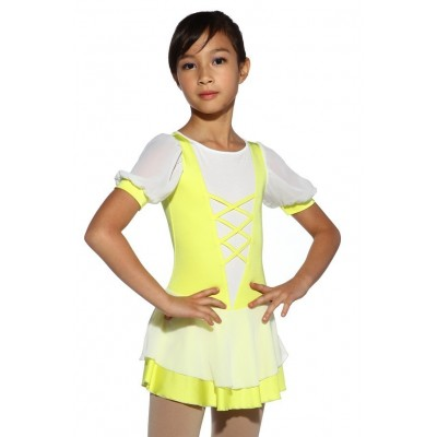 Figure skating dress - yellow - short-sleeves 2 - Yellow