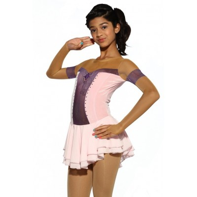 Figure skating dress - pink - diamante 1