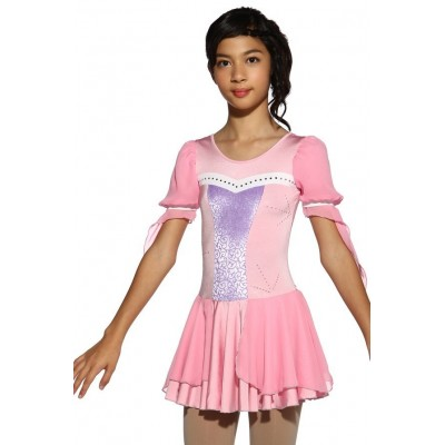 Figure skating dress - pink - diamante 2