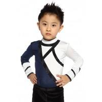 Figure skating top - white - long sleeves - rhinestones
