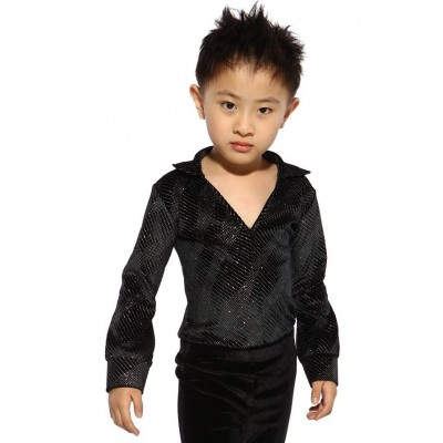 Figure skating top - black - long sleeves - rhinestones 3