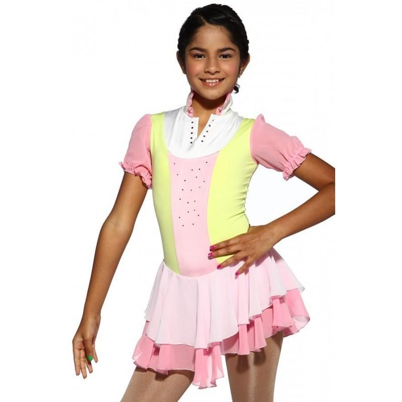 花样滑冰裙,粉红色,短袖,水钻