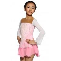 花样滑冰裙,粉红色,长袖,亮片