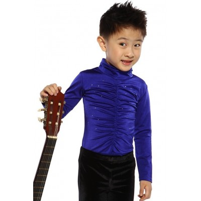 Figure skating top - royal blue - long sleeves - high collar