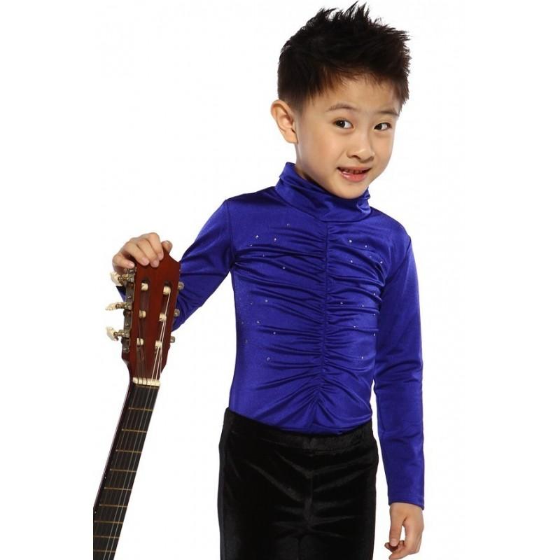 Figure skating top - royal blue - long sleeves - high collar