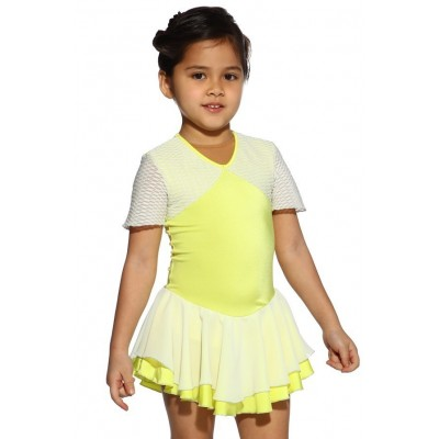 Figure skating dress - yellow - short-sleeves 1