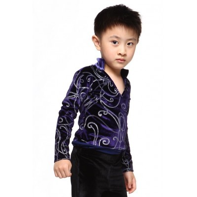 Figure skating top - purple - long sleeves - v-neck 1