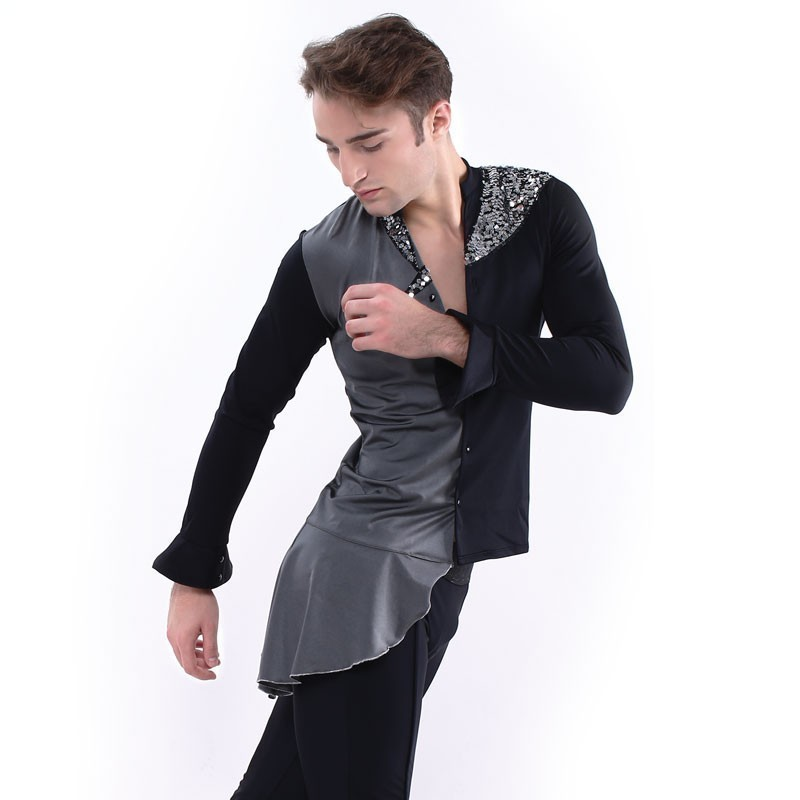 Figure skating top - black - long sleeves - sequins 3