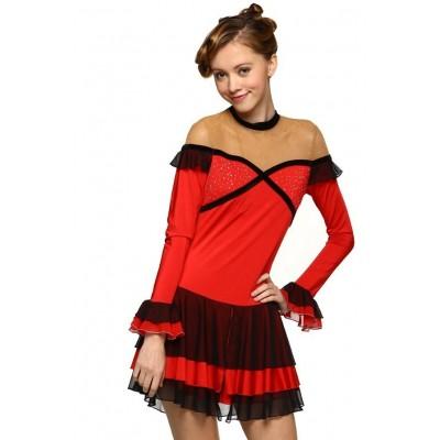 青春时尚 Flamenco 花样滑冰表演服比赛裙