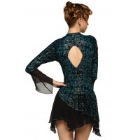 Scoop-neck 3/4-sleeve fancy dance leotard with rhinestones