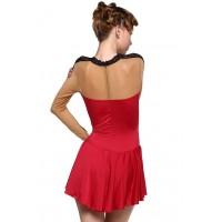 Open-back scoop-neck shoulder mesh tank dance leotard