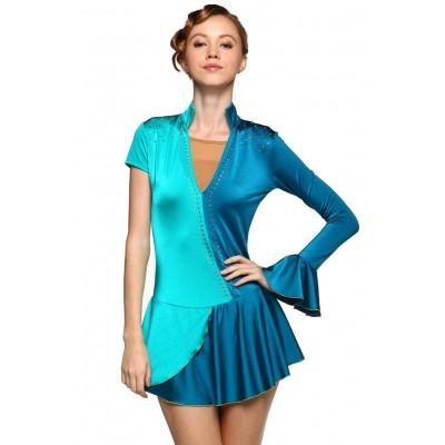 Figure skating dress - blue - mixed-sleeves - diamante
