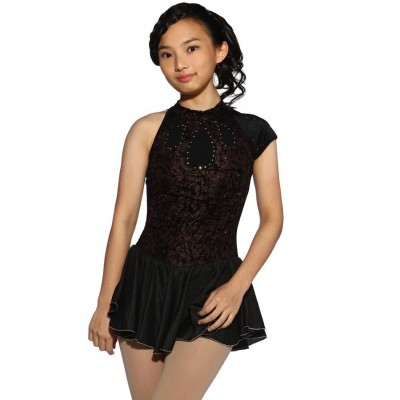 Figure skating dress - black - mixed-sleeves - diamante