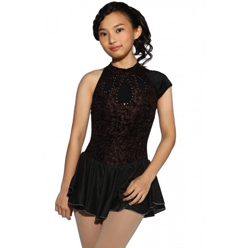 花样滑冰裙,黑色,混合袖,水钻