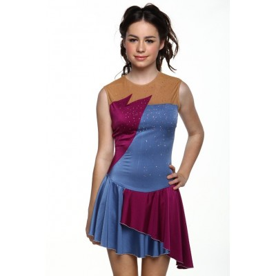 Figure skating dress - blue - sleeveless - diamante 9