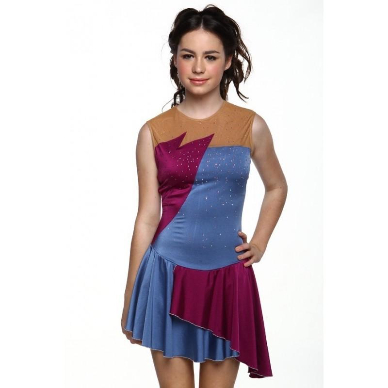 花样滑冰裙,蓝色,无袖,水钻