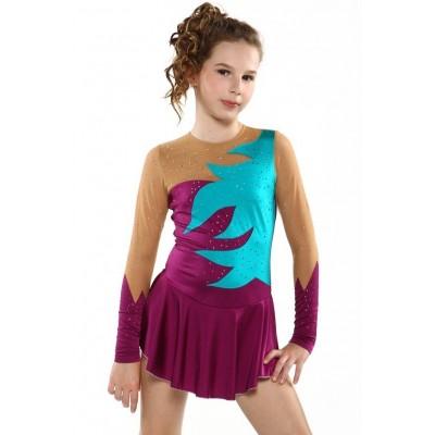 Figure skating dress - long-sleeves - diamante 5