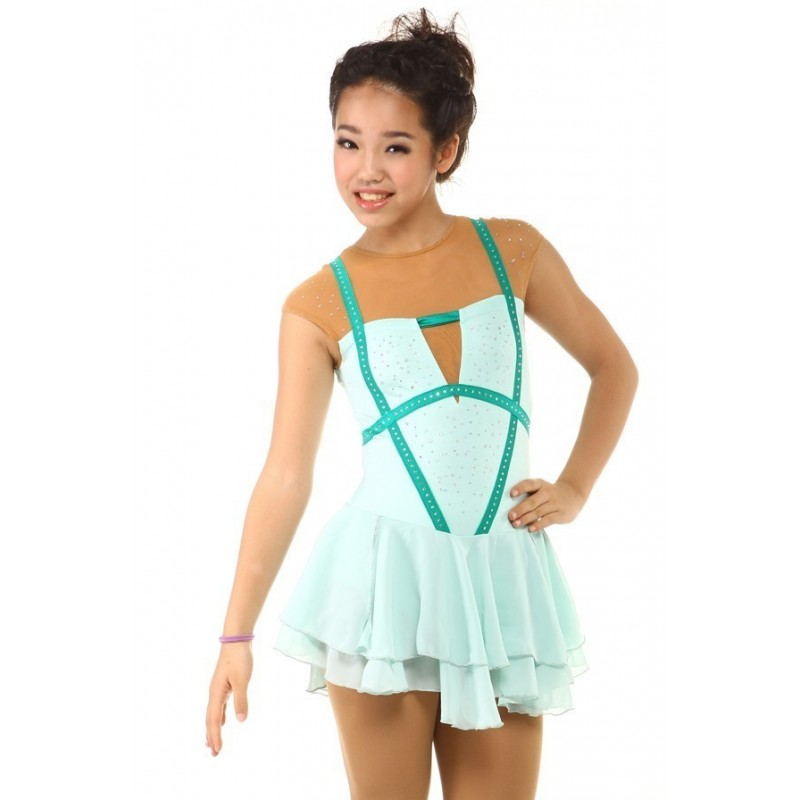 Figure skating dress - sleeveless - strappy - diamante