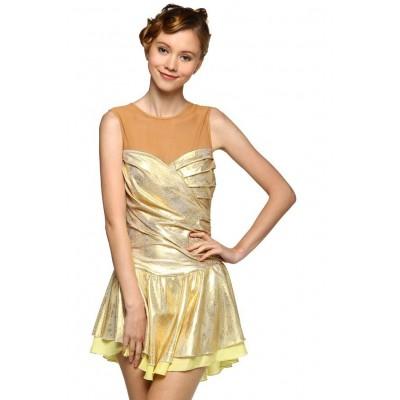 Figure skating dress - gold - sleeveless
