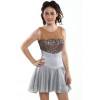 花样滑冰裙,银色,水钻,亮片,无袖