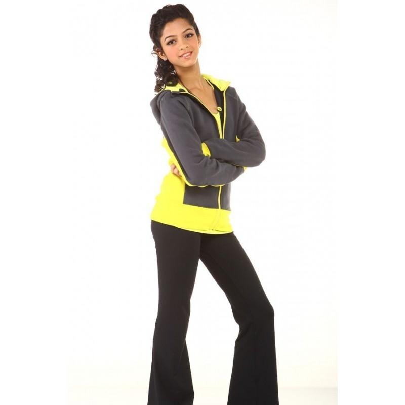 Sports long pants - grey - yellow waistband